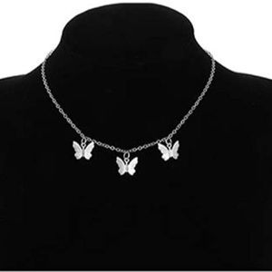 New silver butterfly choker necklace